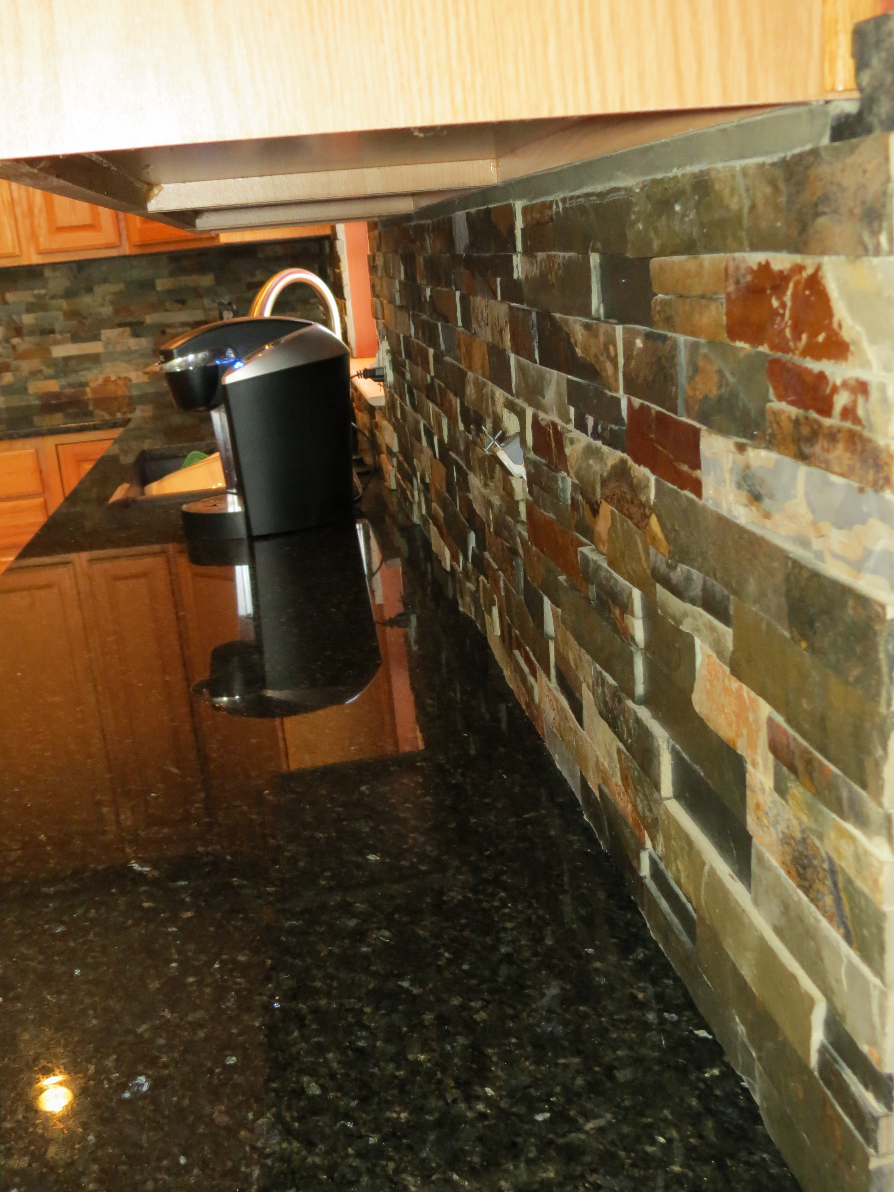 tile backsplash installation dayton ohio kitchen remodeling finished slate tile backsplash installation dayton ohio