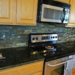 Stove Kitchen Picture After Slate Stone Installation