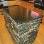 Finished Kitchen Island after Granite and Slate Tile Installation