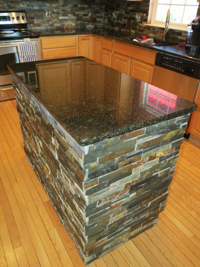 Finished Kitchen Island after Granite and Slate Tile Installation